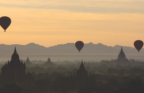 Hot air balloons fly over the temples of Bagan in Myanmar