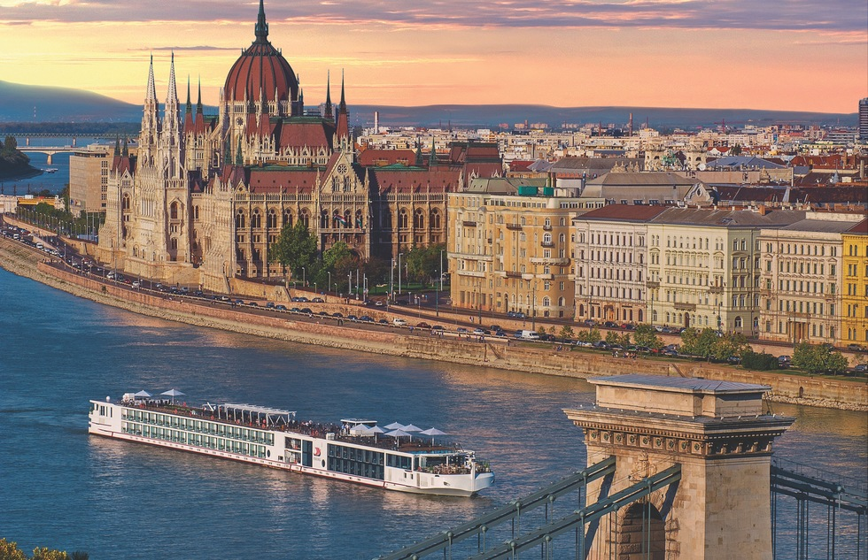 A river cruise ship on the Danube in Budapest