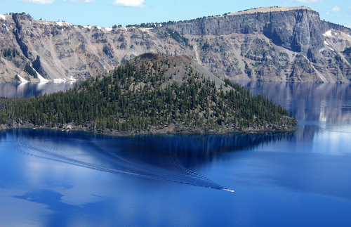 A cinder cone volcano at Wizard Island in the middle of Crater Lake