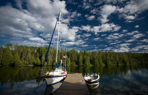 Two sailing boats docked at Birch Island in Isle Royale National Park