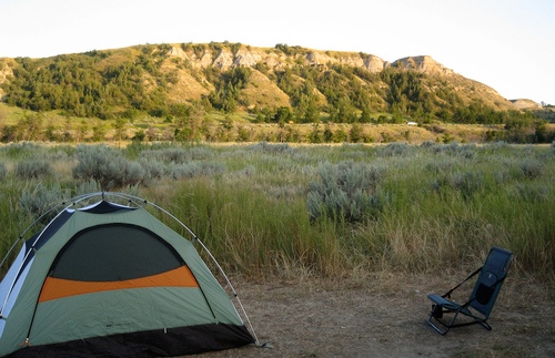 A campground at Theodore Roosevelt National Park
