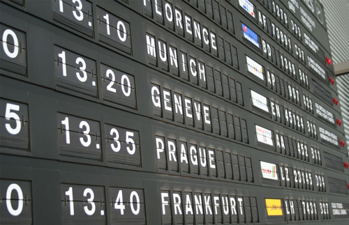A departure board at an airport