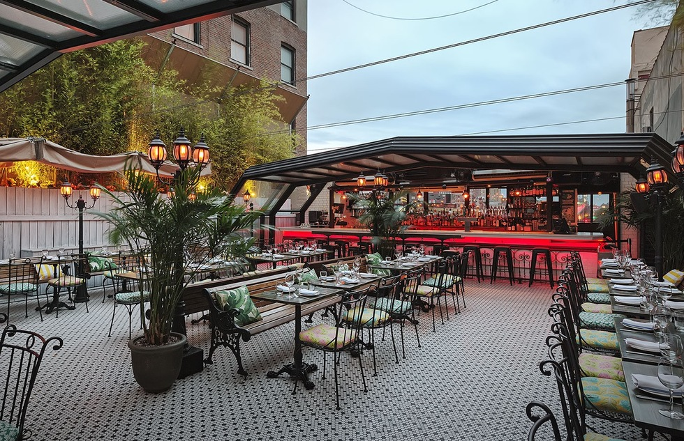 Paris-inspired art-nouveau rooftop of Hotel Chantelle in New York City