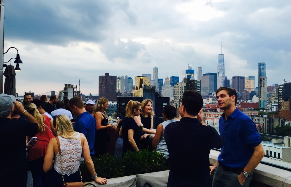 The crowd at Mr. Purple's rooftop bar in New York City