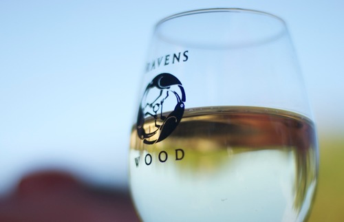 A glass of white wine from Ravenswood in Sonoma, California