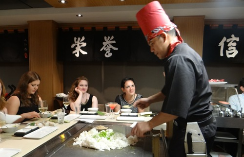Diners at the hibachi restaurant aboard the Norwegian Epic