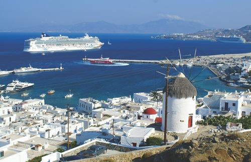 A Norwegian Cruise Lines ship sails from Mykonos