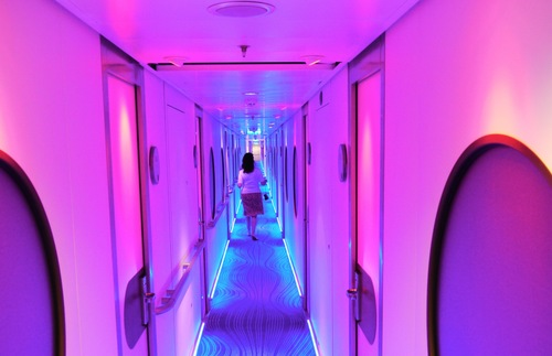 A hallway aboard the Norwegian Epic