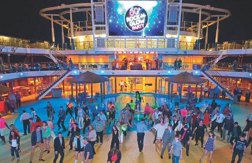 A party on the deck of the Carnival Vista.