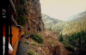 The Durango and Silverton rounds a bend in Colorado
