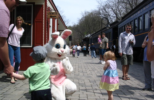 The Easter Bunny makes an appearance at the Wilmington and Western