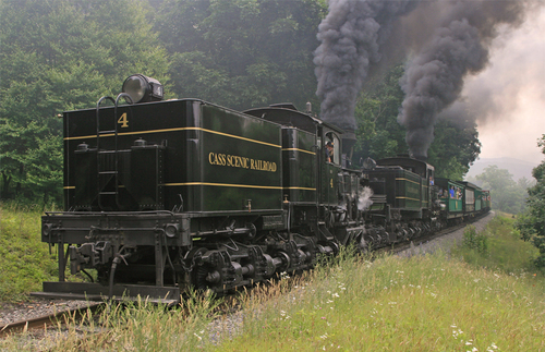 A double locomotive train along the Cass Scenic Railroad