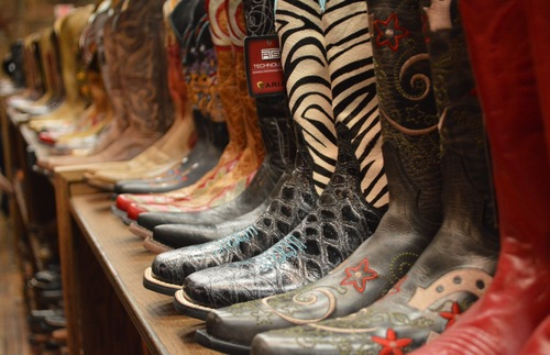 A row of cowboy boots for sale in Nashville, Tennessee