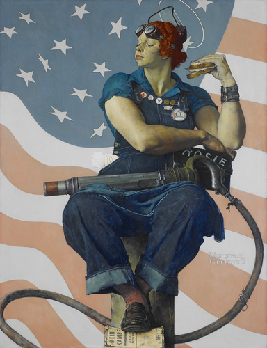 "Norman Rockwell, ""Rosie the Riveter"" (1943; oil on canvas, 52 x 40 in.). Courtesy of Crystal Bridges Museum of American Art, Bentonville, Arkansas"