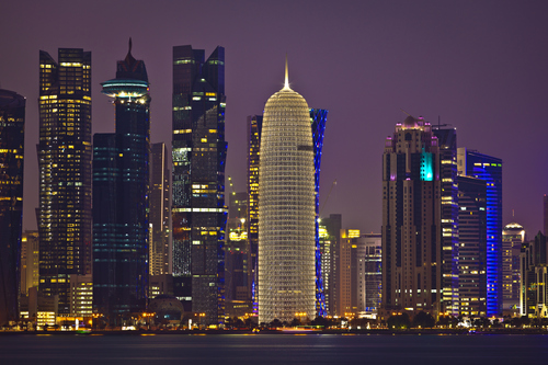 The skyline of Doha, Qatar