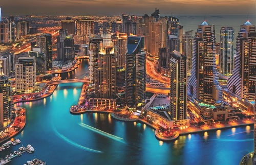 View Of The Dubai Marina At Dusk