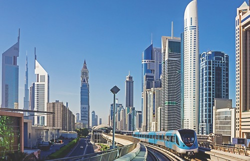 View of modern skyscrapers from Dubai's Metro