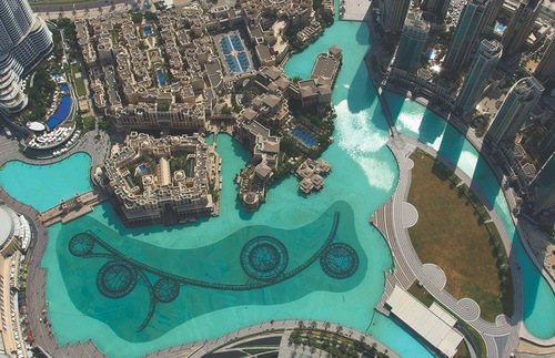 View of Dubai Fountain from At the Top of the Burj Khalifa