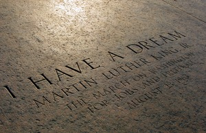 "Inscription marking the spot where Martin Luther King gave his ""I Have a Dream"" speech at the Lincoln Memorial in Washington, DC"