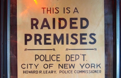 Vintage police raid notice at New York City's Stonewall Inn
