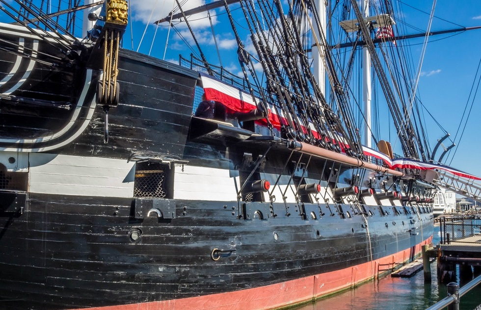 Hull of the USS Constitution, docked in Charleston Navy Yard.