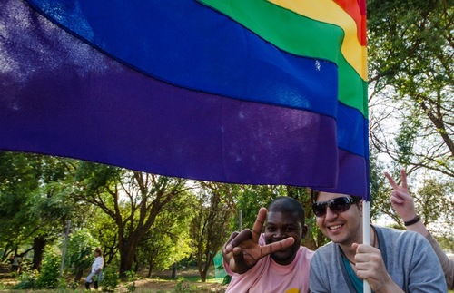 Attendees at an LGBT Pride Parade in Johannesburg, South Africa