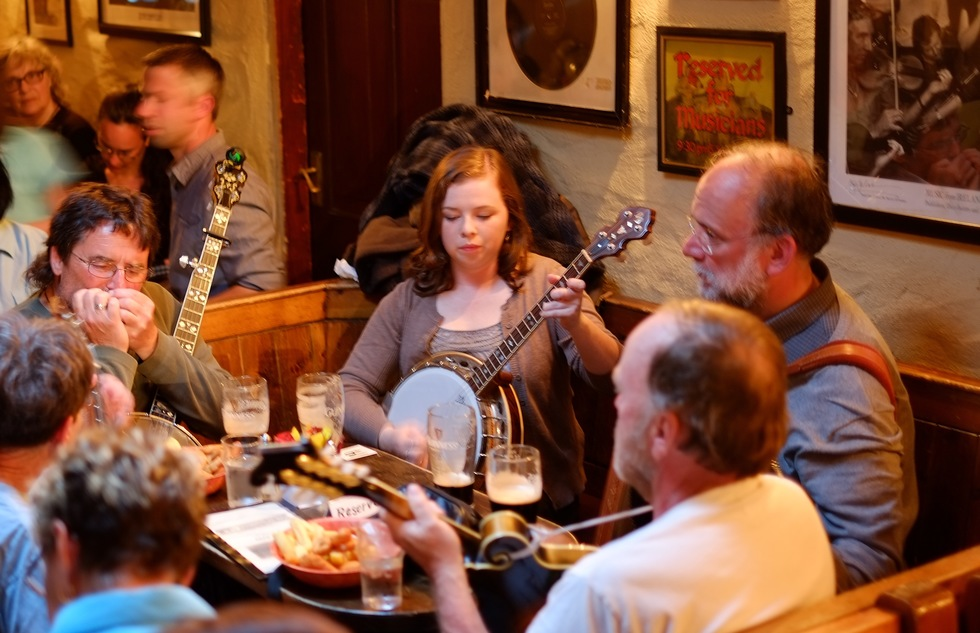 Traditional musicians at a pub in Ireland