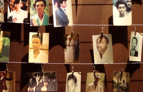 Photos of Rwandan genocide victims on display at the Kigali Genocide Memorial Centre in Rwanda