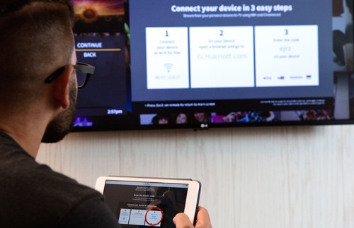 Connecting an iPad to a guest-room TV at a Moxy Hotel