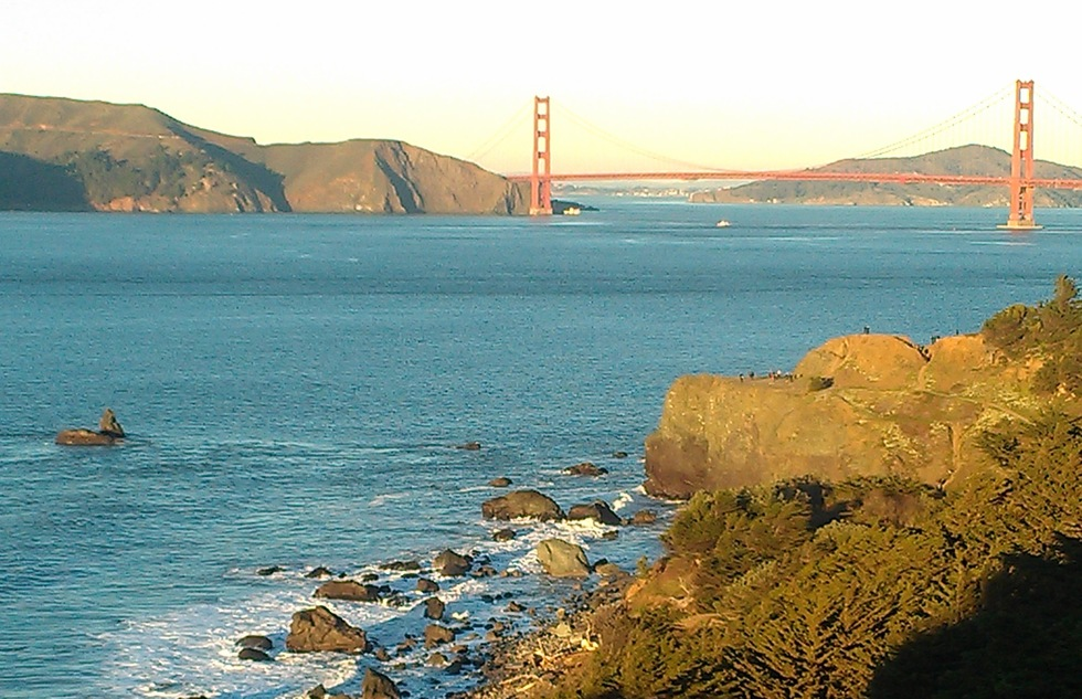 View of Golden Gate Bridge from Lands End trail at Golden Gate National Recreation Area in San Francisco