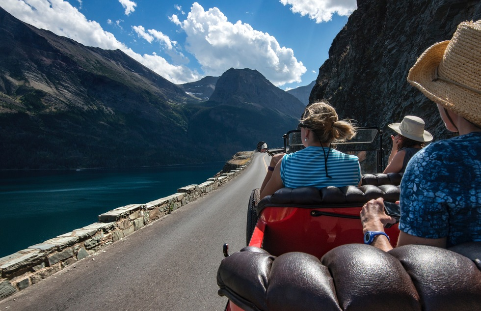 Red bus tour on the Going-to-the-Sun Road in Montana's Glacier National Park