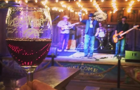 Sipping wine and listening to live music in Texas Hill Country