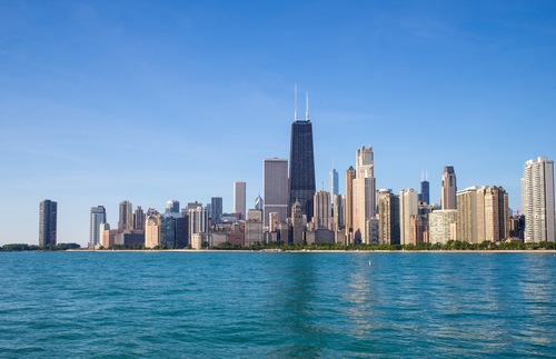 The Chicago skyline along Lake Michigan