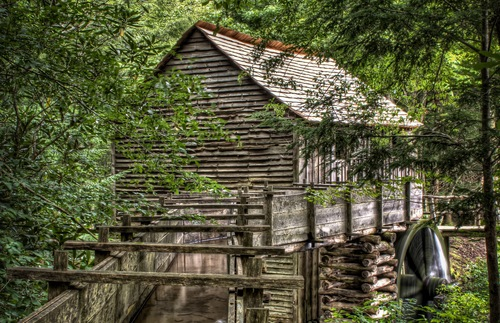 A rustic mill at Cades Cove in Tennessee's Great Smoky Mountains National Park