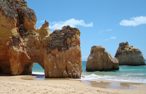 A beach on the Algarve in southern Portugal