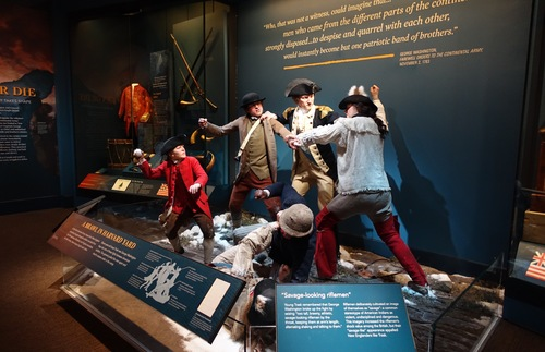 Tableau depicting brawl between American soldiers during the Revolutionary War; on display at the Museum of the American Revolution in Philadelphia