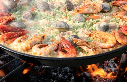 Paella cooking in Valencia, Spain