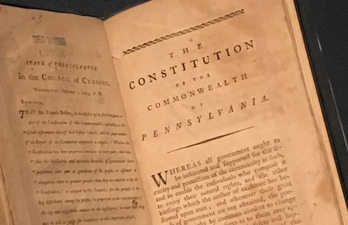 Pennsylvania's 1776 state constitution, on display at the Museum of the American Revolution in Philadelphia