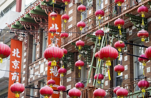 Red paper lanterns in San Francisco's Chinatown