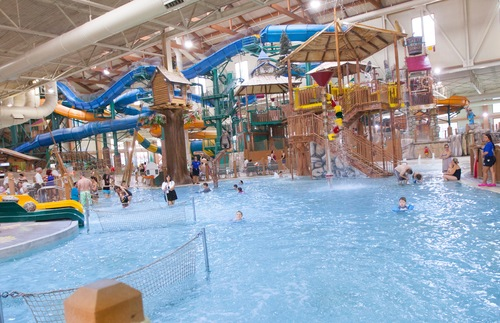 The indoor water park at Great Wolf Lodge Pocono Mountains in Pennsylvania