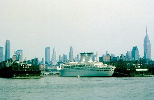 1965 photo of ocean liner piers in New York City