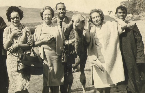 1965 photo of tourists with a camel in Morocco