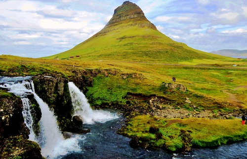 A towering waterfall in Iceland