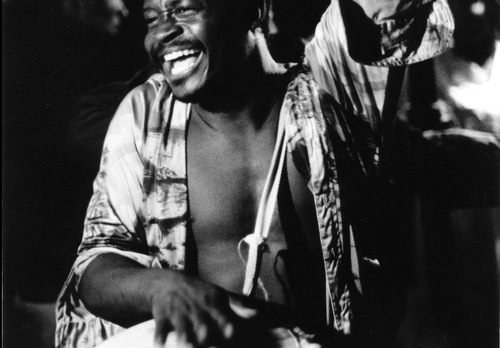 Early 1980s photo of a drummer at a Haitian vodou dance in New York City