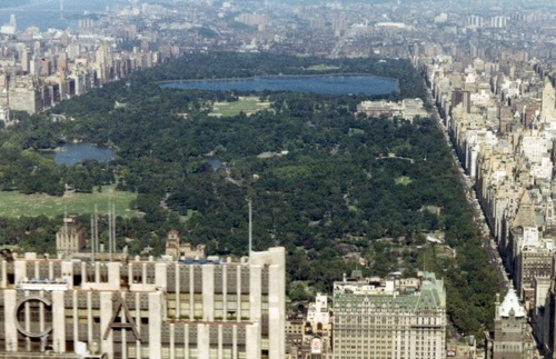 1967 aerial view of Central Park in New York City