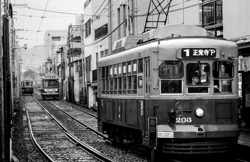 Old-fashioned tram in Nagasaki, Japan