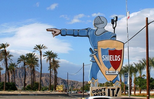 Sign for Shields Date Gardens in Indio, California