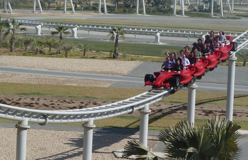 Formula Rossa roller coaster at Ferrari World in Abu Dhabi, United Arab Emirates