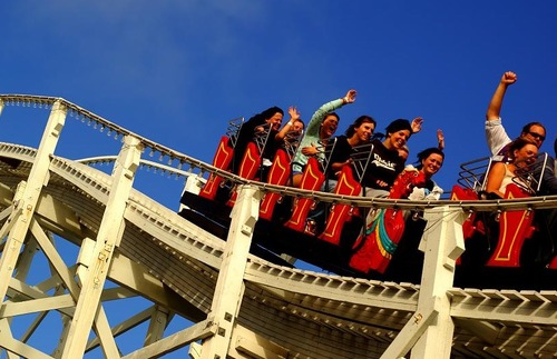 Scenic Railway roller coaster at Luna Park in Melbourne, Australia