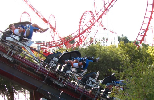 X2 and Viper roller coasters at Six Flags Magic Mountain in Southern California